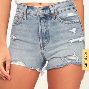 Levi's premium distressed wedgie fit shorts 24